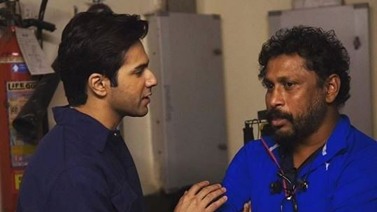 Varun and Shoojit on the sets of <i>October</i>.