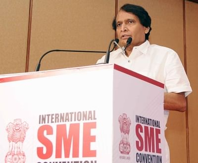 New Delhi: Union Minister for Commerce and Industry and Civil Aviation Suresh Prabhakar Prabhu addresses at the inauguration of the International SME Convention 2018 in New Delhi on April 23, 2018. (Photo: IANS/PIB)