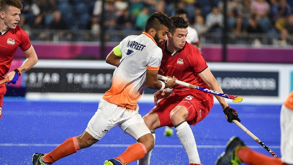 Indian captain Manpreet Singh in action against England.