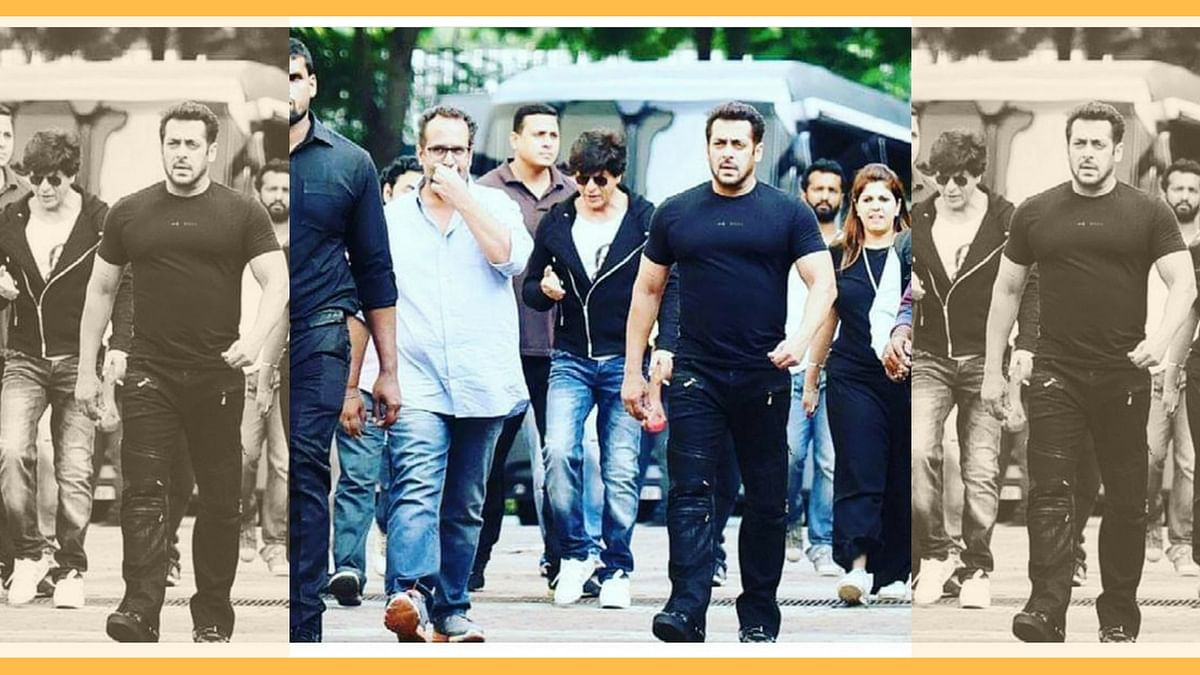 Aanand L Rai with Shah Rukh and Salman Khan on the sets of <i>Zero.</i>&nbsp;