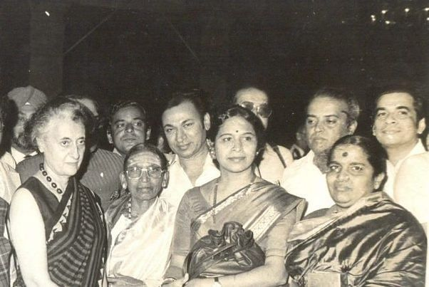 Dr Rajkumar seen in the photo with former prime minister Indira Gandhi, at a Sangeetha Music event.