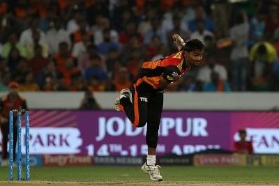 Hyderabad: Sandeep Sharma of Sunrisers Hyderabad in action during an IPL 2018 match between Sunrisers Hyderabad and Mumbai Indians at Rajiv Gandhi International Cricket Stadium in Hyderabad on April 12, 2018. (Photo: BCCI/IANS) (Credit Mandatory)