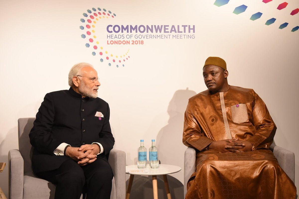 PM Modi meets with President of Gambia, Adama Barrow on the sidelines of the CHOGM.