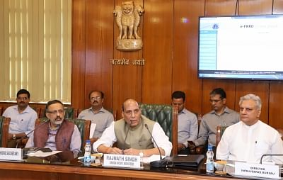 New Delhi: Union Home Minister Rajnath Singh addresses after launching the e-FRRO web portal at a function in New Delhi on April 13, 2018. Also seen Union Home Secretary Rajiv Gauba and the IB Director Rajiv Jain. (Photo: IANS/PIB)