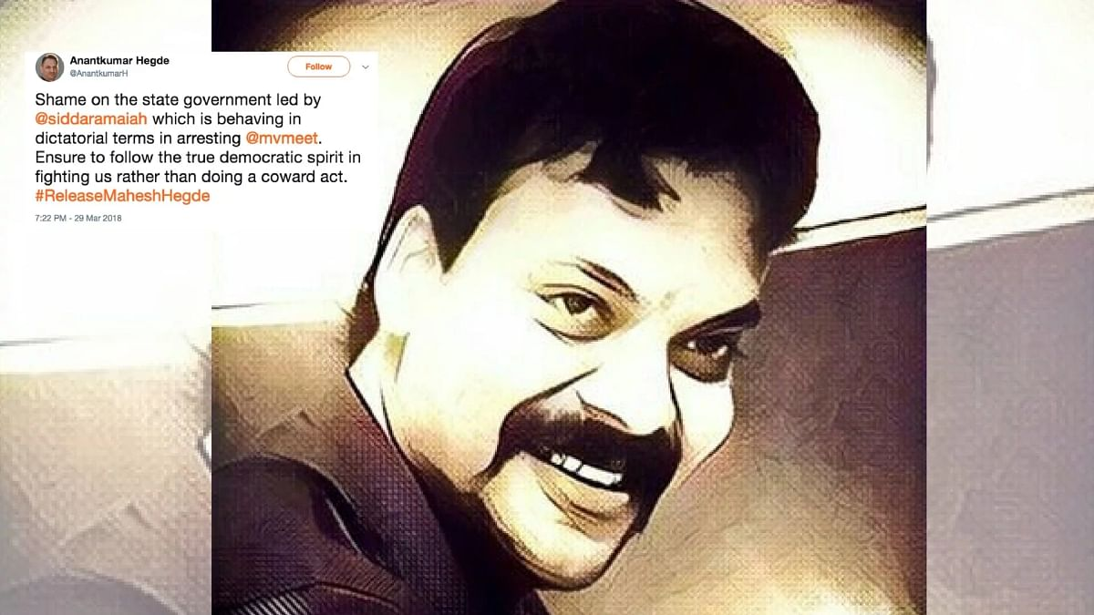 """As support of BJP leaders poured in, the hashtag #ReleaseMaheshHegde began trending on Twitter. Mahesh Hegde is the """"editor"""" of Postcard News, a fake news website."""