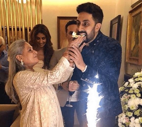 Jaya with Abhishek Bachchan.