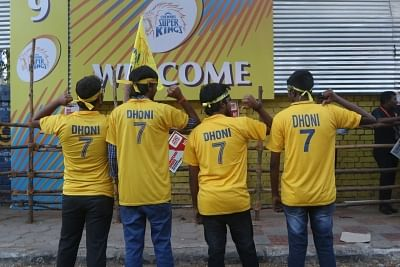 Chennai: Chennai Super Kings (CSK) fans ahead of an IPL match between Chennai Super Kings (CSK) and Kolkata Knight Riders at Chepauk Stadium, in Chennai on April 10, 2018. (Photo: IANS)