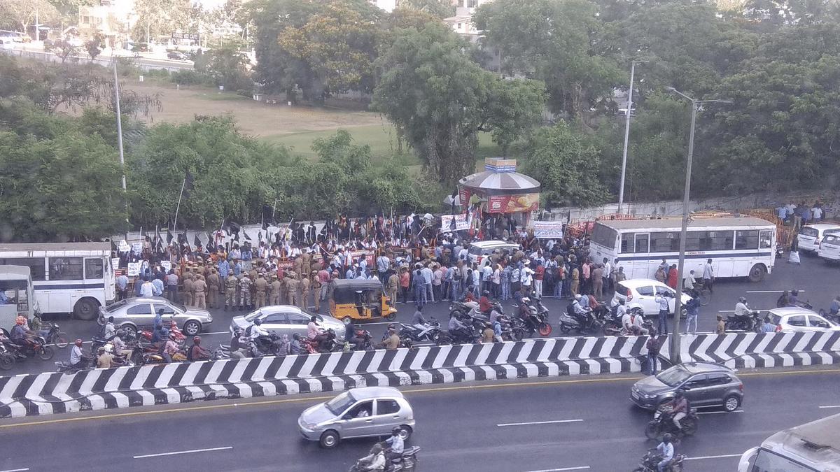Protestors gathered in huge numbers outside Alandur metro station
