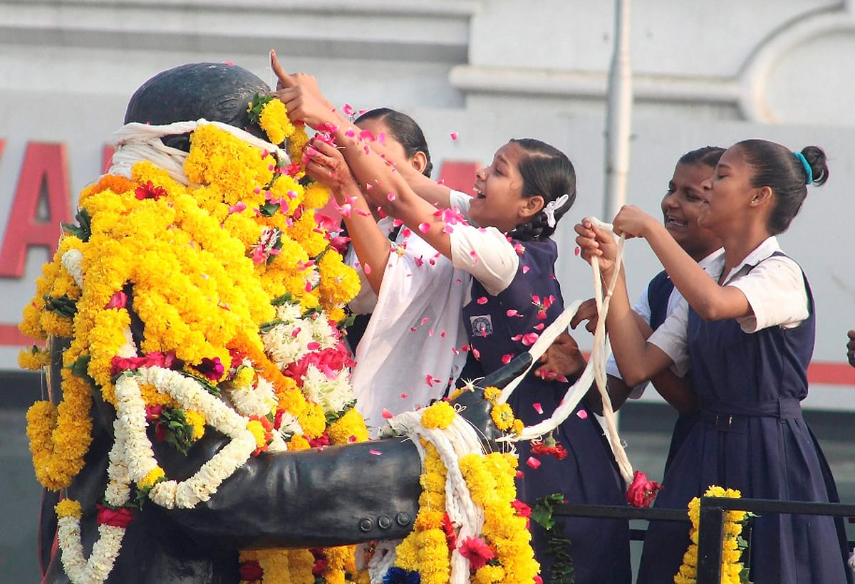 Surat: People pay tribute to Dr BR Ambedkar on his birth anniversary in Surat on Saturday.