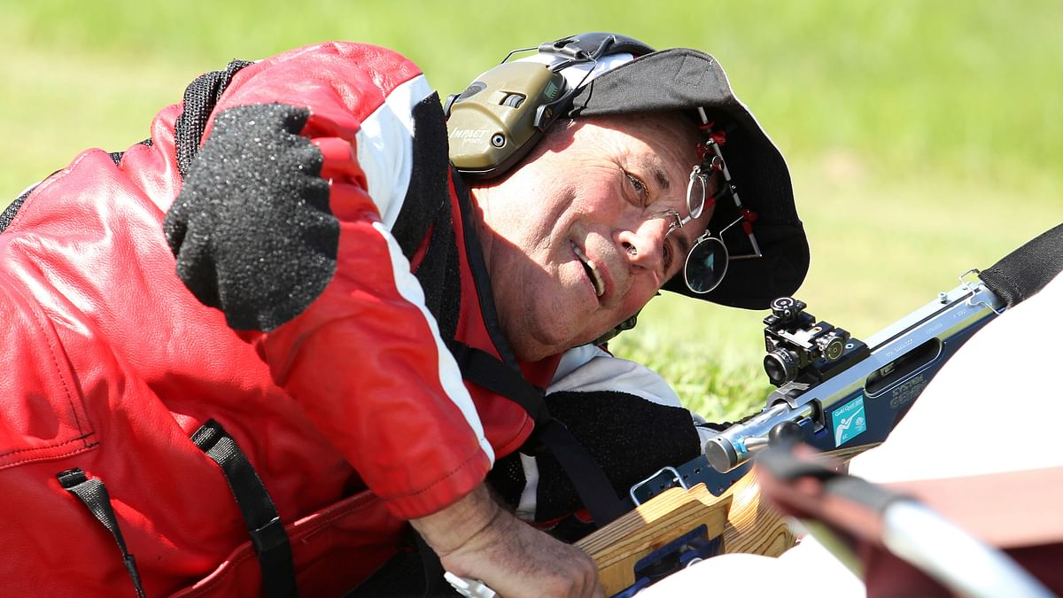 Robert Pitcairn of Canada smiles during a shooting competition at the Belmont Shooting Centre at the 2018 Commonwealth Games in Brisbane, Australia, Monday, April 9, 2018.