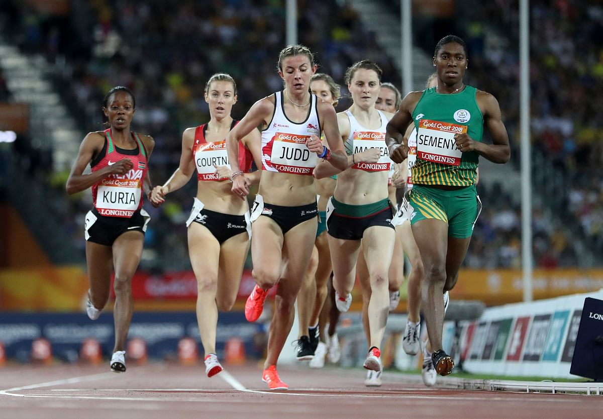 South Africa's Caster Semenya, right, leads the field in her women's 1500m heat at Carrara Stadium during the 2018 Commonwealth Games on the Gold Coast, Australia, Monday, April 9, 2018.