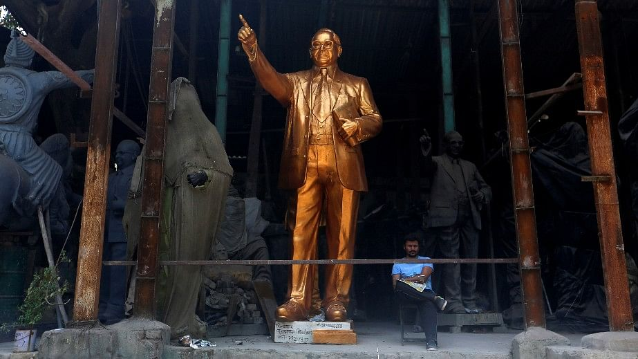 A statue of B R Ambedkar on display for rent at a workshop in Mumbai.