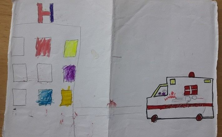 """""""Look at these small details: Her leg is crushed and she was bleeding in the ambulance... The (coloured windows) represents the wards where the friends she made at the hospital had been admitted. Her friends were other girls like her, who had undergone amputations""""."""