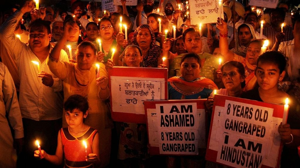 Protests against Unnao and Kathua rape incidents in Amritsar.