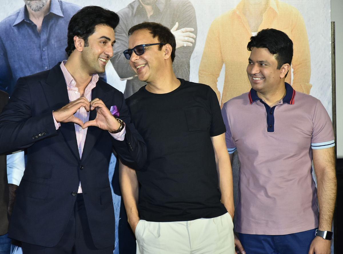 Ranbir with producers Vidhu Vinod Chopra and Bhushan Kumar.