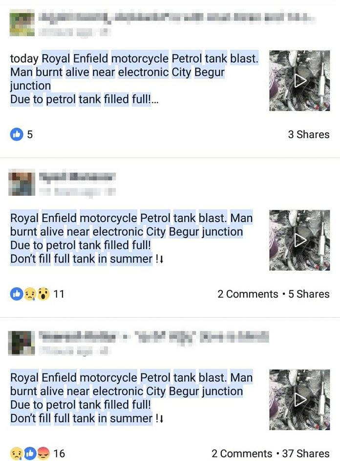 Fake News Alert: Royal Enfield Did Not Catch Fire in Bengaluru