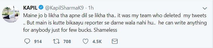 Kapil Sharma on his Twitter.