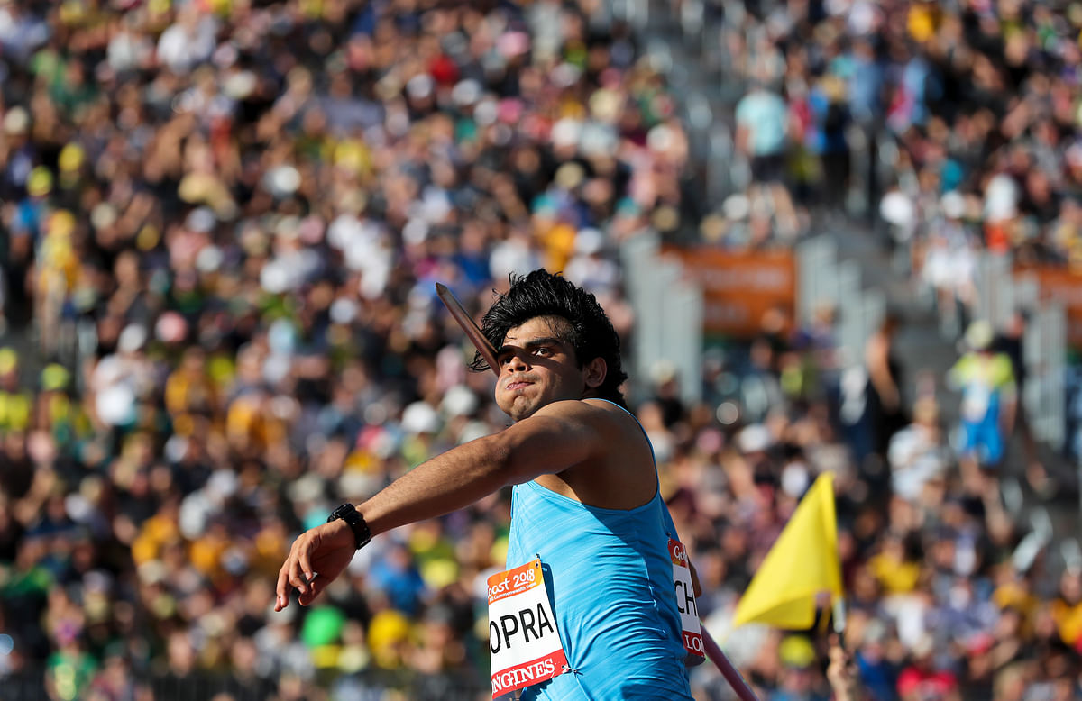 India's Neeraj Chopra throws in the men's javelin final at Carrara Stadium during the Commonwealth Games on the Gold Coast, Australia, Saturday, 14 April 2018. Chopra won gold.