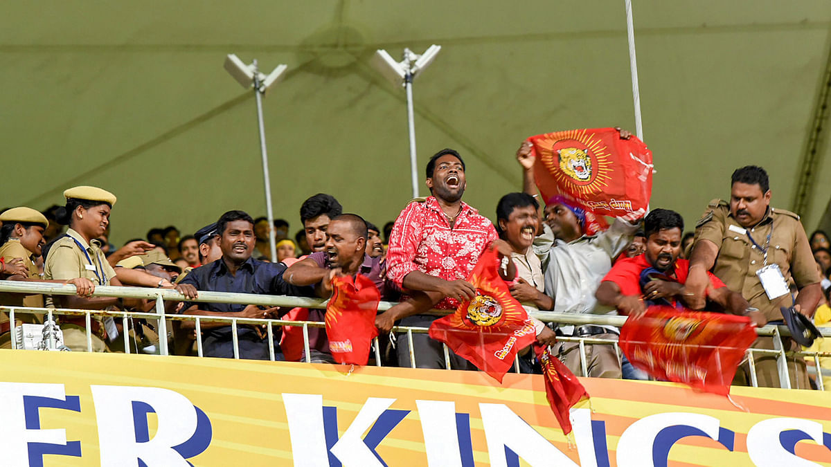 Activists of a pro-Tamil outfit protest during the IPL match between Chennai Super Kings and Kolkata Knight Riders in Chennai on Tuesday night.
