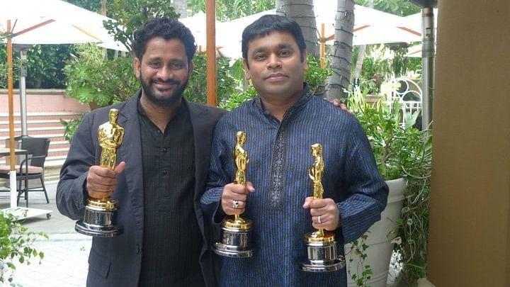 Resul Pookutty with AR Rahman after their Oscar win.