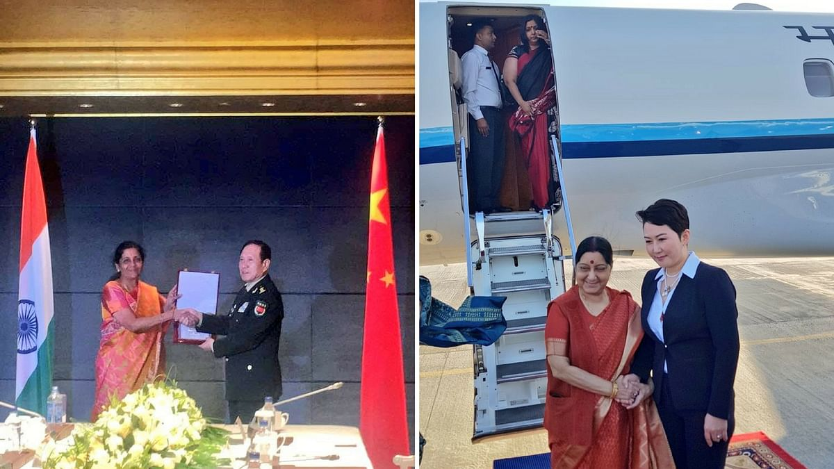 External Affairs Minister (EAM) Sushma Swaraj arrived in Mongolia on Tuesday, 24 April (right) while defence Minister Nirmala Sitharaman held bilateral meeting with her Chinese counterpart.