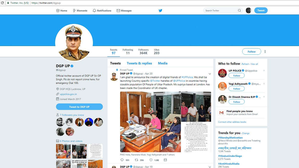 Screenshot of Uttar Pradesh Director General of Police's verified Twitter account.