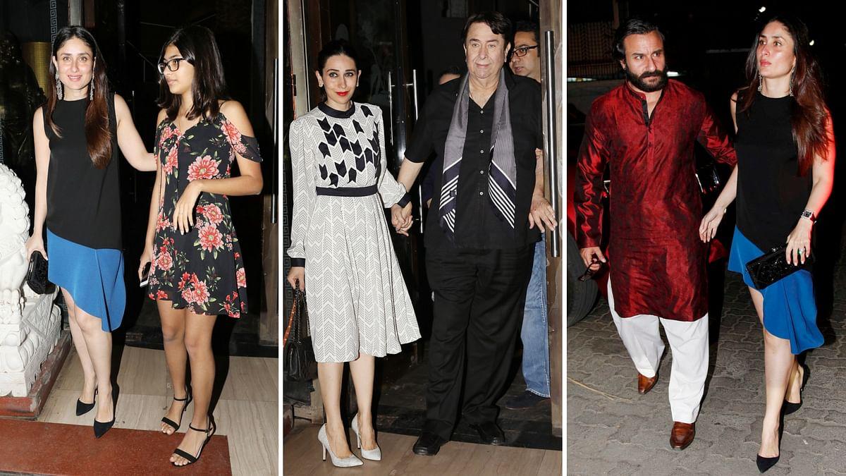 Kareena Kapoor, Karisma Kapoor, Saif Ali Khan at Babita Kapoor's birthday.