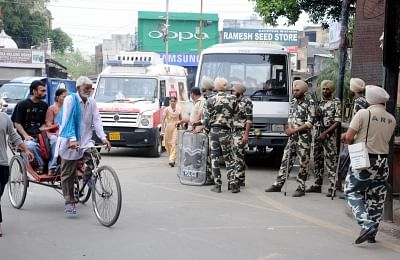 """Amritsar: Security personnel deployed during """"Bharat Bandh"""" called by various groups to protest against reservation policies, in Amritsar on April 10, 2018. (Photo: IANS)"""