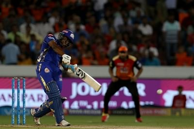 Hyderabad: Evin Lewis of Mumbai Indians in action during an IPL 2018 match between Sunrisers Hyderabad and Mumbai Indians at Rajiv Gandhi International Cricket Stadium in Hyderabad on April 12, 2018. (Photo: BCCI/IANS) (Credit Mandatory)