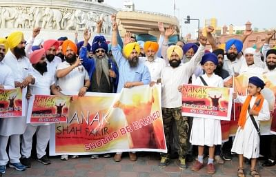 Amritsar: Shiromani Akali Dal (SAD) activists stage a demonstration against the screening of the film