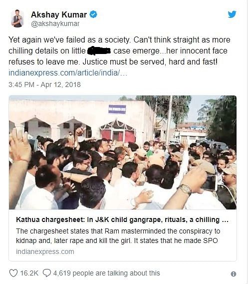 Akshay Kumar Tweets about the Unnao and Kathua rape cases.