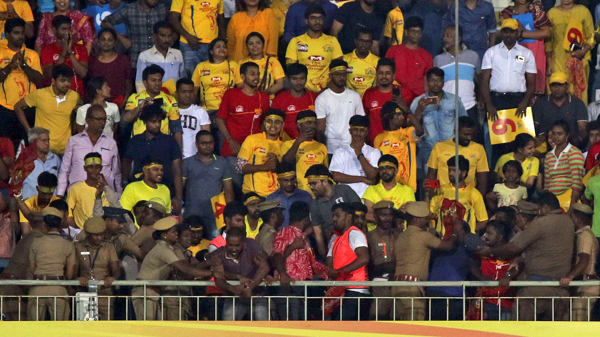 Naam Thamizar party members protesting against the cauvery issue in the Chepauk stadium during VIVO IPL cricket T20 match in Chennai, India, Tuesday, April 10, 2018.