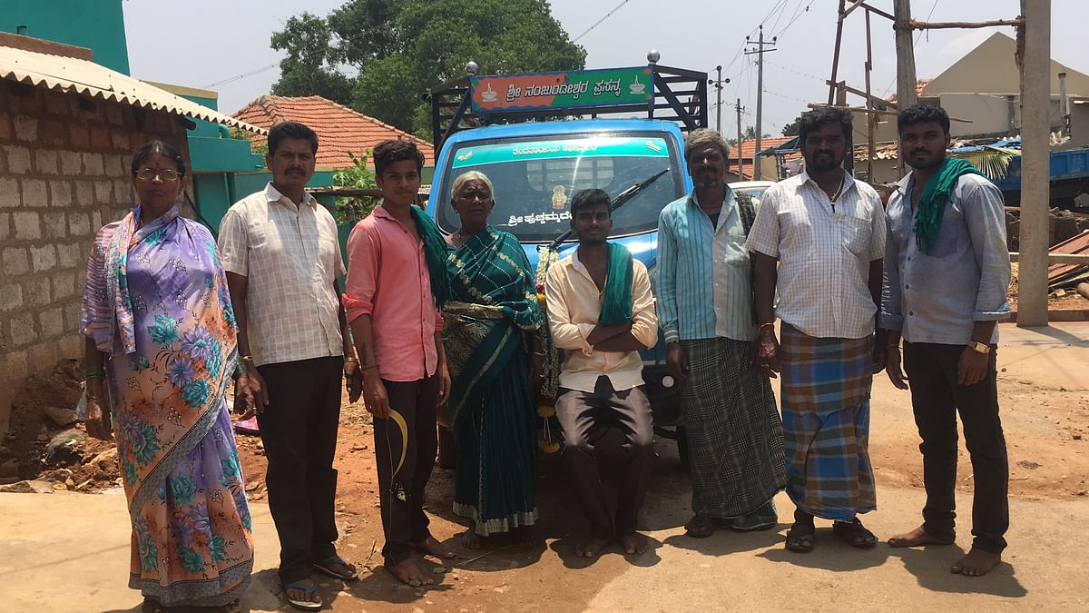 The campaigning vehicle was a popular photo-booth for the villagers.