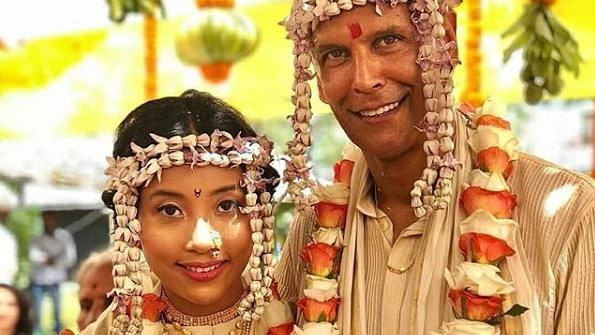 Newly married couple Milind Soman and Ankita Konwar.