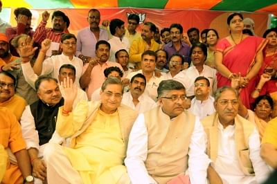 Patna: Union Minister and BJP leader Ravi Shankar Prasad along with other leaders of the party, observes a day-long fast to protest the disruption of Parliament