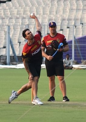 Kolkata Knight Riders (KKR) bowling coach Heath Streak and Mitchell Johnson. (Photo: IANS)