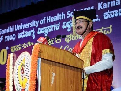 Bengaluru: Vice President M. Venkaiah Naidu addresses at the 20th Convocation of Rajiv Gandhi University of Health Sciences (RGUHS), in Bengaluru on April 12, 2018. (Photo: IANS/PIB)