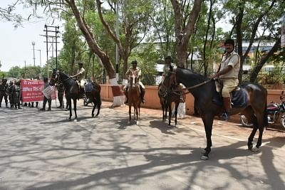 Ranchi: Mounted police deployed during a shutdown called by Kurmi Vikas Morcha over granting Scheduled Tribe (ST) status to the Kurmi caste in Jharkhand, in Ranchi on April 23, 2018. (Photo: IANS)