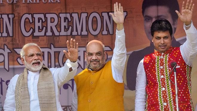 Prime Minister Narendra Modi with Bharatiya Janata Party (BJP) National President Amit Shah and Tripura Chief Minister Biplab Kumar Deb.