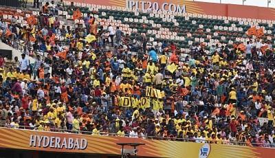 Hyderabad: Fans of Sunrisers Hyderabad cheer during an IPL 2018 match between Chennai Super Kings and Sunrisers Hyderabad at Rajiv Gandhi International Cricket Stadium in Hyderabad on April 22, 2018. (Photo: IANS)