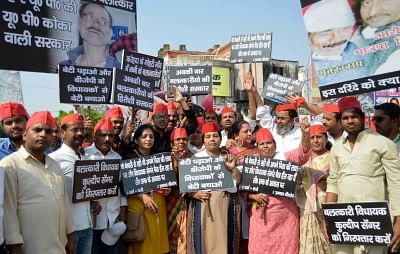 Allahabad: Samajwadi Party (SP) activists stage a demonstration to press for the arrest of Unnao MLA Kuldeep Singh Senger over the alleged rape of an 18-year-old, in Allahabad on April 12, 2018. (Photo: IANS)