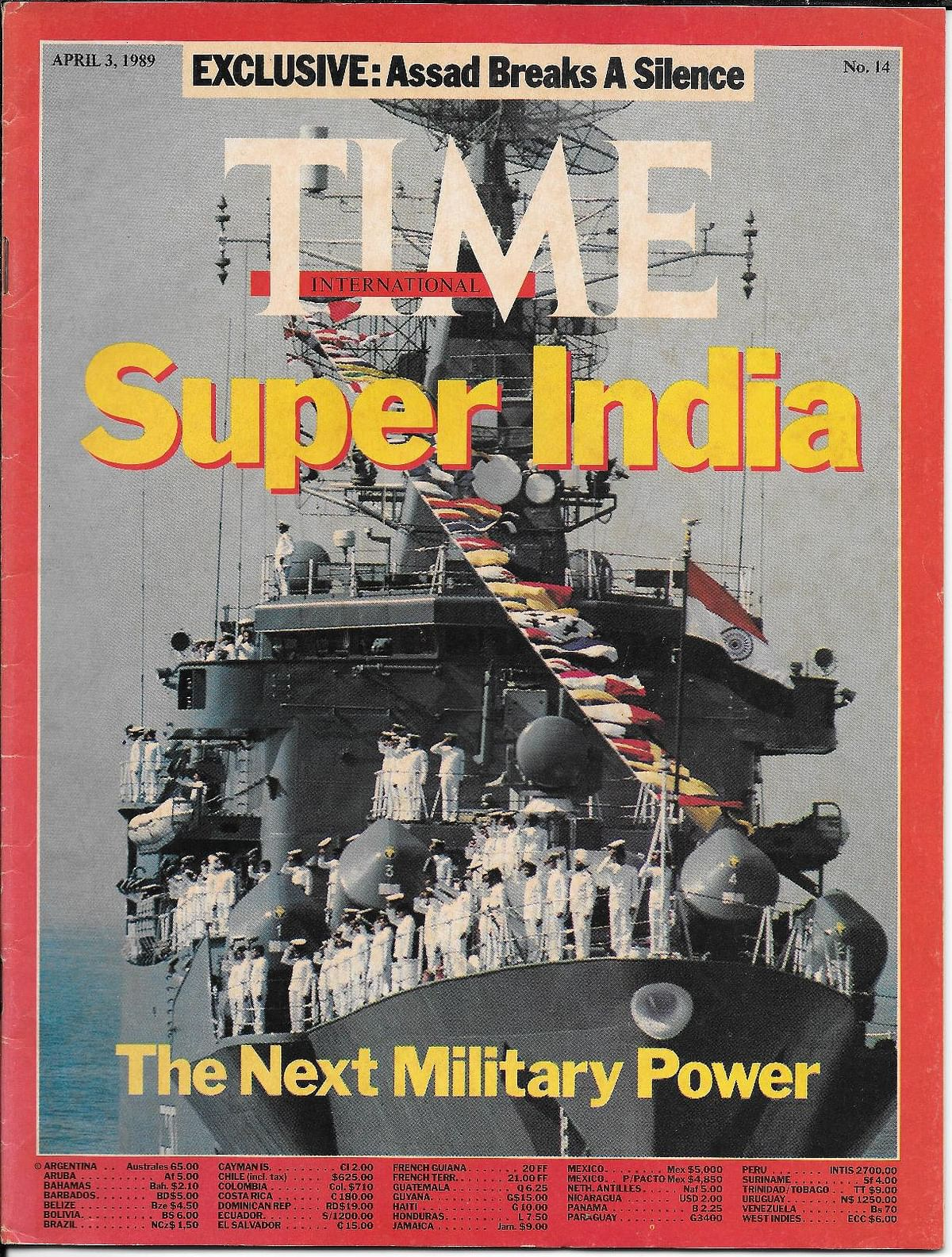 The 3 April 1989 edition of <em>Time</em> magazine was a tribute to India's overseas missions and capability.