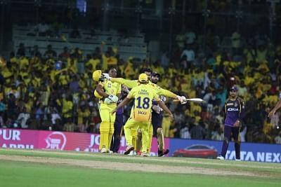 Chennai: Chennai Super Kings celebrate after winning an IPL 2018 match against Kolkata Knight Riders at MA Chidambaram Stadium in Chennai on April 10, 2018. (Photo: IANS)