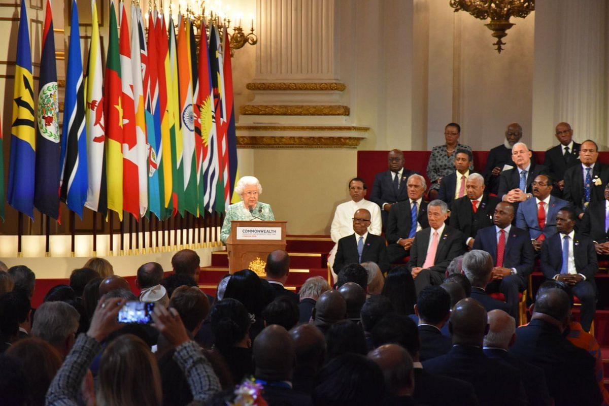 Queen Elizabeth addressing the CHOGM.