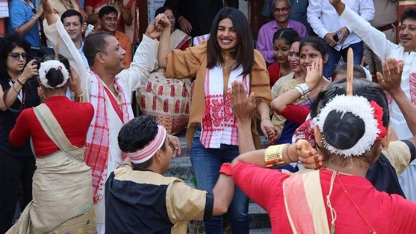 Pictures: Priyanka Chopra Dances the Bihu With Students in Assam