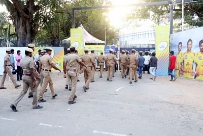 Chennai: Security beefed up in Chennai as people demanding a Cauvery Management Board took to the streets against an IPL match to be played between Chennai Super Kings (CSK) and Kolkata Knight Riders (KKR) in the city on April 10, 2018. (Photo: IANS)