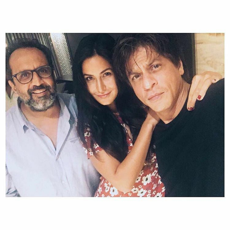 Aanand L Rai with Katrina Kaif and Shah Rukh Khan on the sets of <i>Zero.</i>