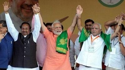 PM Modi and BJP Karnataka chief BS Yeddyurappa during a BJP rally in February, 2018.
