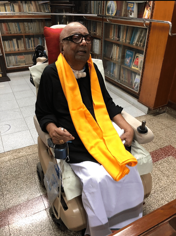 DMK supremo M Karunanidhi wearing a black shirt as a sign of protest against PMModi's visit to Chennai.