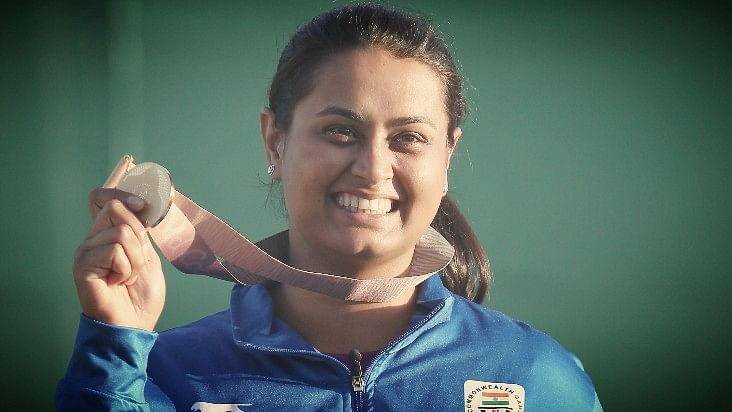 Shreyasi Singh celebrates after winning the gold medal women's double trap final at the Belmont Shooting Centre on Wednesday.